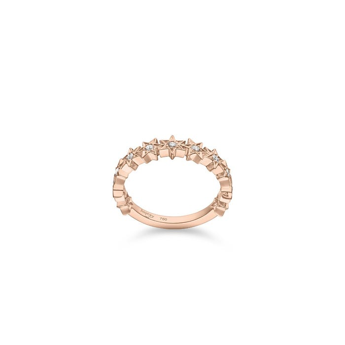 Cosmic Stargazer Ring 18ct Rose Gold Diamond, Pink