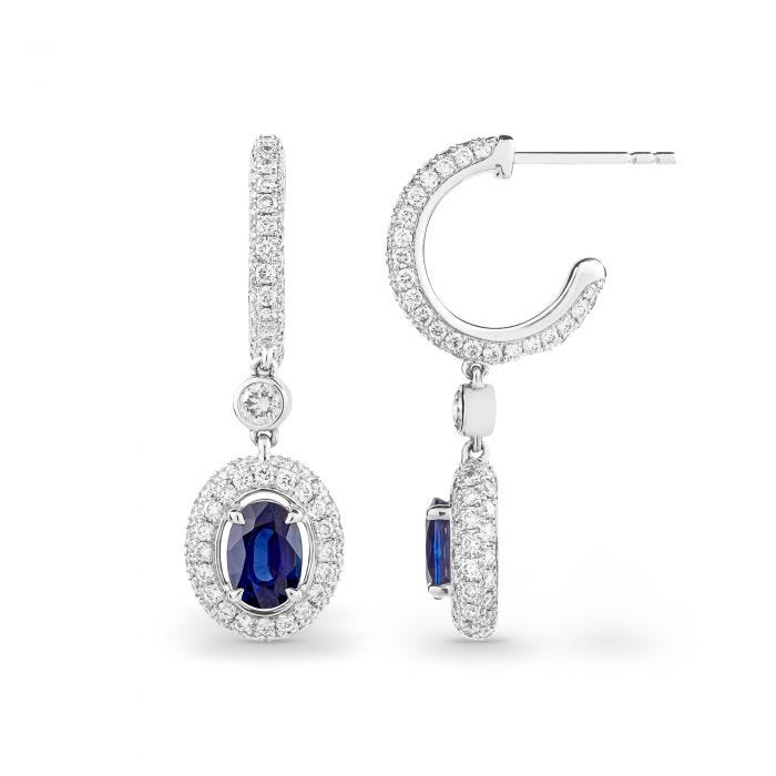 Oval Sapphire and Diamond Hoop Earrings mounted in Platinum