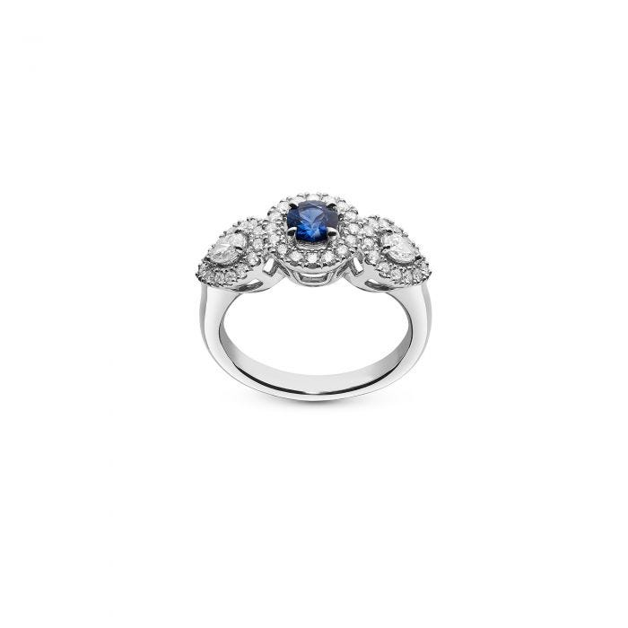 Round Sapphire and Diamond Ring mounted in Platinum