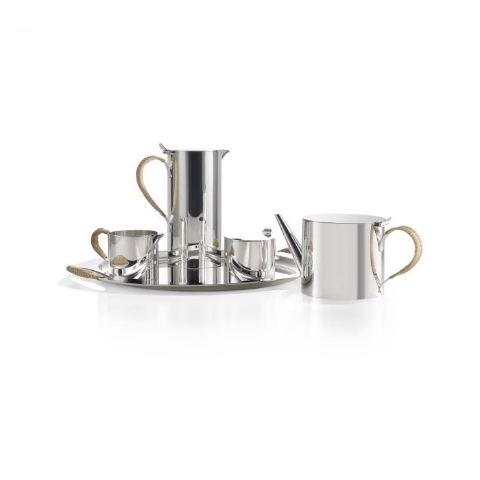 Cane Tea & Coffee Set With Tray, Silver