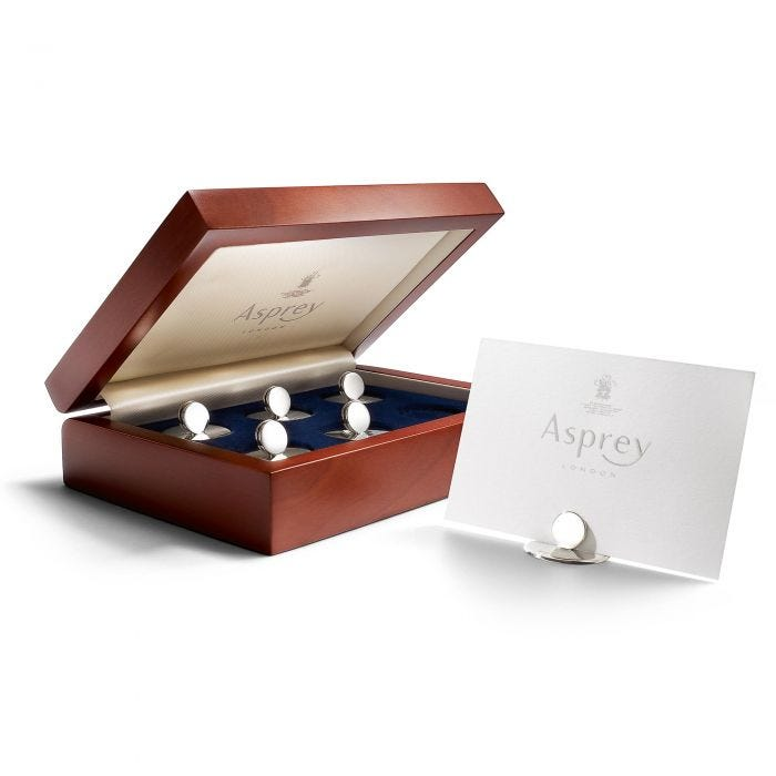 Round Silver Place Card Holders