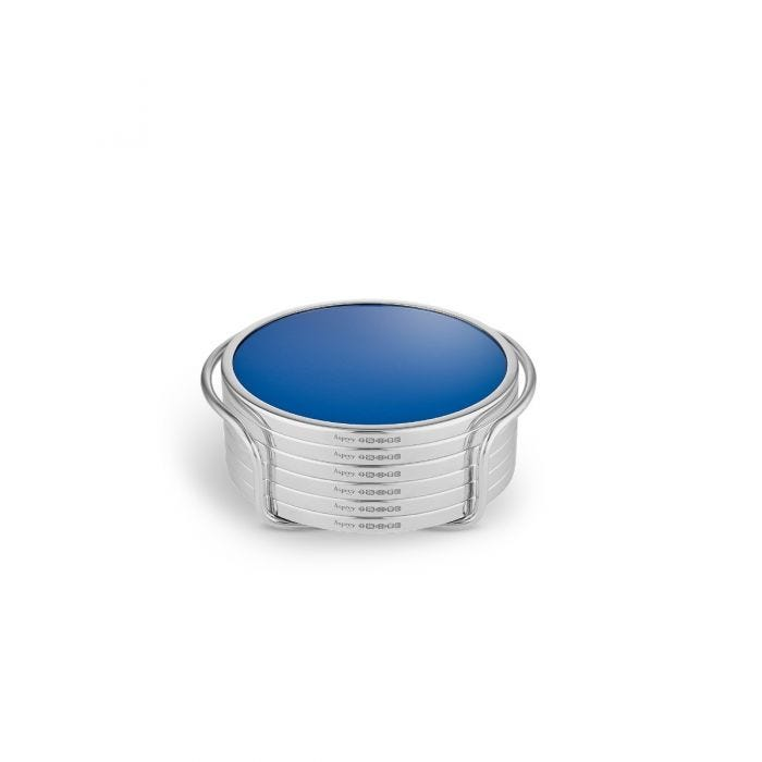 Formica & Silver Coasters, Blue, Set of 6