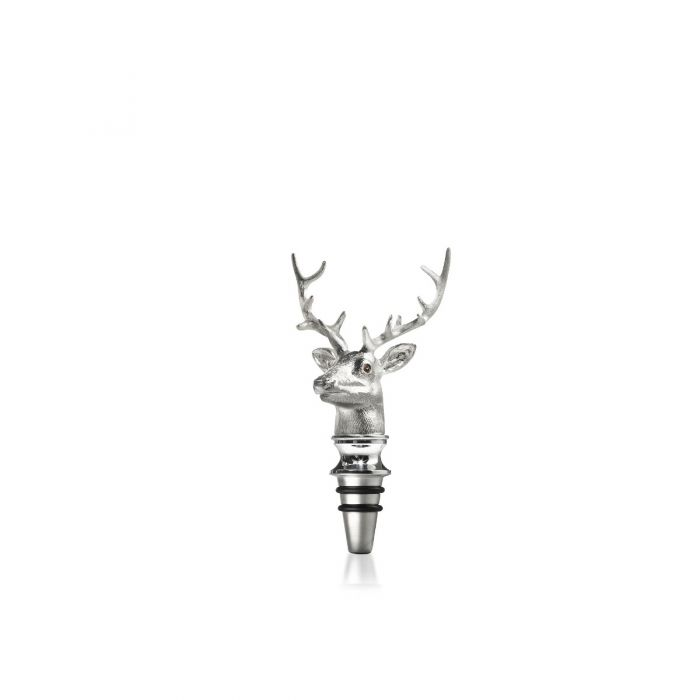 Stag Head Bottle Stopper, Silver