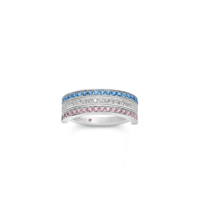 Flip Ring in Pink Sapphire, Diamond & Pale Blue