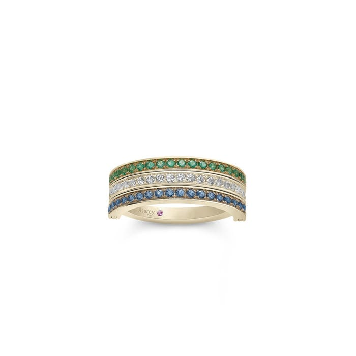 Flip Ring in Emerald, Sapphire & Diamond