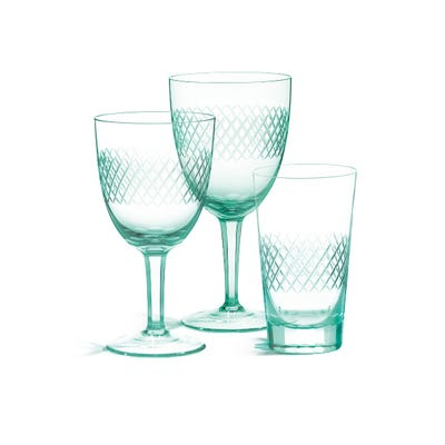 Crosshatch White Wine Glasses Pair