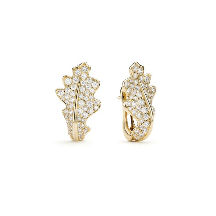 Single Oak Leaf Earrings, Yellow Gold