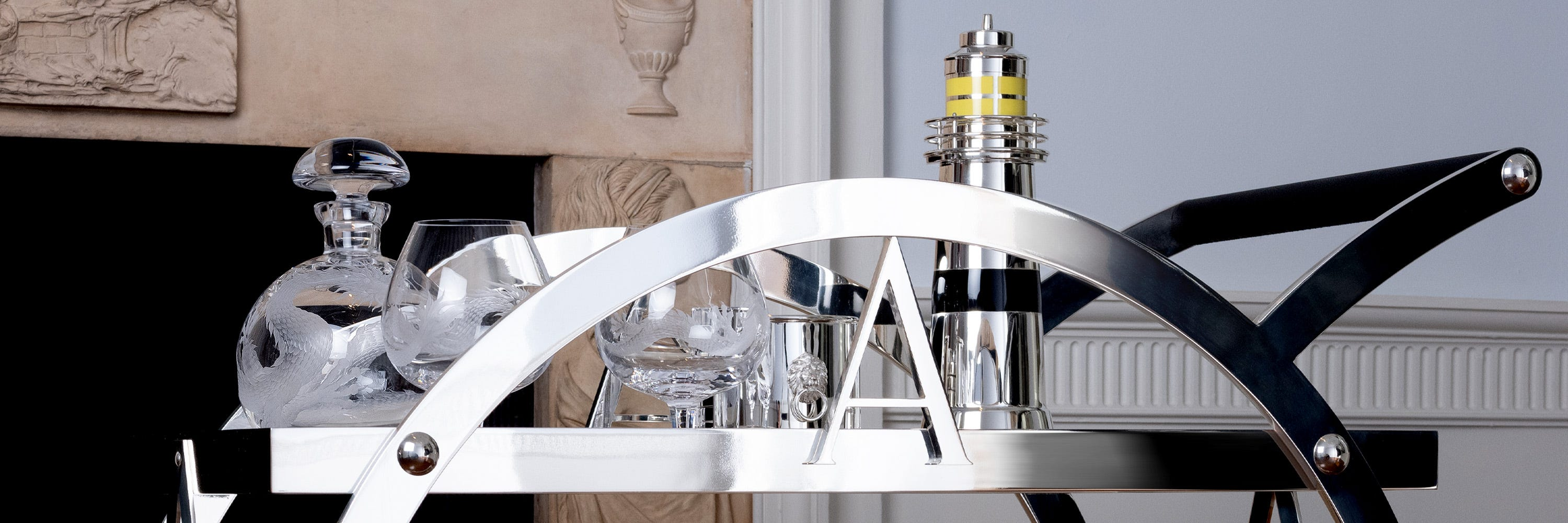 Asprey's Silver Cocktail Trolley and Barware