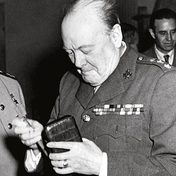 Sir Winston Churchill with his Asprey cigar case at the Yalta Conference in 1945